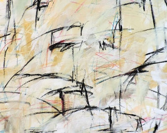 Untitled 5-21-16 (abstract expressionist painting, silver, white, blue, green, black, red, yellow)