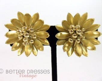 50s Clip On Earrings Coro Gold Tone Chrysanthemum