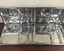 Metal Stainless Steel Serving Trays Military Set of Four Sectioned Food Trays Minimalist Modern Design Industrial Food Serving