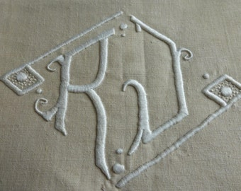 King Size Pure Linen Sheet, , French Antique, Unused  French,  Circa 1930's Monogrammed R.J