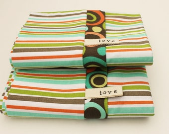 Jungle Stripe Pillowcases KIDS Bedding Brown Orange Green Blue Stripes Cotton Africa Adoption Fundraiser