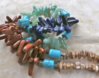 30 Inch Contemporary Three Color Stick Bead and Turquoise Southwestern Necklace with Earrings