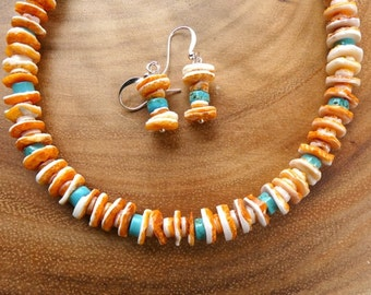 24 Inch Rustic Orange Spiny Oyster and Turquoise Necklace with Earrings