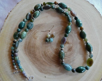 31 Inch Chunky India Agate Necklace with Earrings