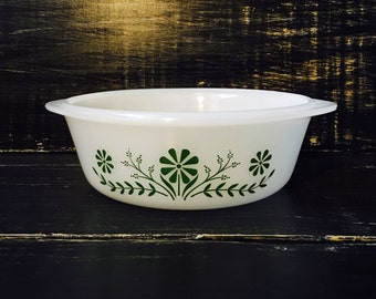 Glasbake Green Flower Casserole dish, Vintage 1960, Glasbake, Milk Glass
