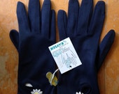 vintage deadstock navy with white and yellow daisy dress gloves by kayser one size fits all washable nos