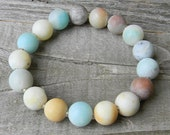 Rustic Rainbow -Boho Chic Stackable Bracelet - Pastel Amazonite Stretch Bracelet