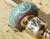Southwest Chic- Large Hole Lampwork Bead - Silver Core - European Style Charm Bead