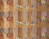 Board Book Phrase Garland ONCE UPON A TIME -- for Book Themed Baby Shower Wedding