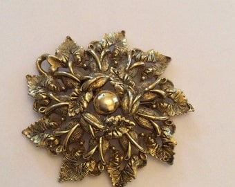 Gold Rose Pin or Brooch, Large Flower, Vintage Jewelry, Gift for Her SPRING SALE  Mother's Day