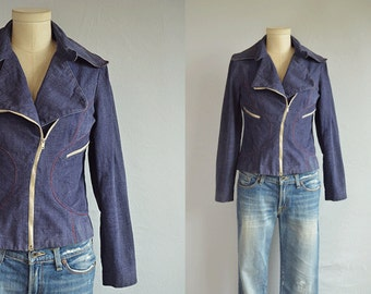 Vintage 70s Jean Jacket / 1970s Roncelli Fitted Indigo Denim Zipper Motorcycle Jacket
