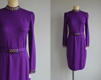 Vintage 70s St John Knits Dress / 1970s Marie Grey Designer Purple Rhinestone Beaded Cocktail Dress with Belt / NOSWT New Old Stock
