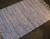 On Sale Handwoven Rag Rug 2' x 3' Lavender and White with Natural Green