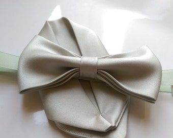 Pale / sage green bow tie with pre-folded hanky  set, adult and kid size