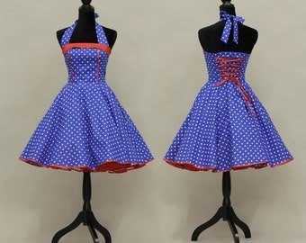 50's vintage dress full skirt Dots national colors white blue red custom tailor made after your measurements