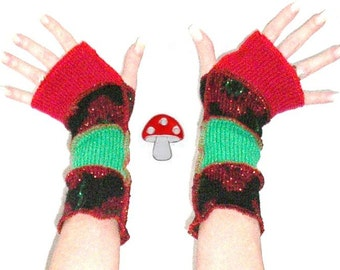 Ugly Christmas Sweater Arm Warmers Fingerless Gloves Red Amaryllis Sparkle Glitter Flowers Red And Green Xmas