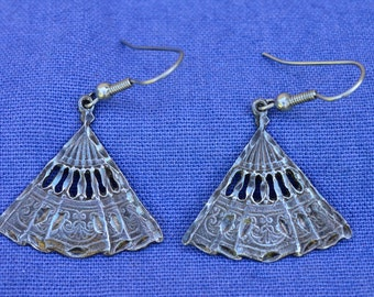Sterling Fan Dangle Earrings