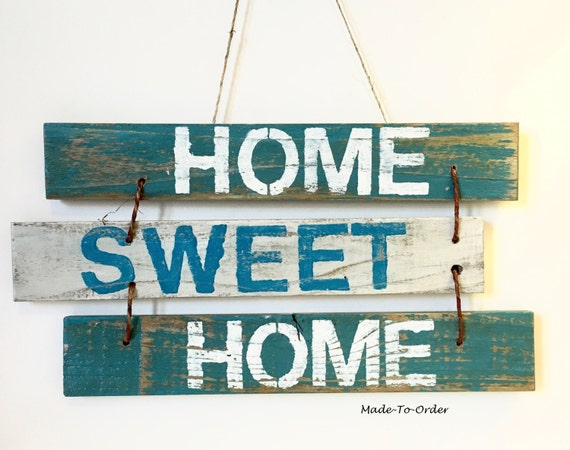 Home sweet home rustic home decor wooden by - Wooden door signs for home ...
