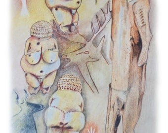 ORIGINAL ART, drawing of Lascaux Art, Prehistoric Art, Shaman Art, Lionman Statute, Neolithic Art,  Shamanic Art Study, Venus of Willendorf.