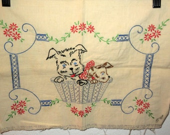 Vintage dogs puppies in a basket embroidery pillow cover 30s 40s era design sewing project Scottie dog terrier