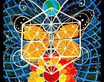 Tapestry Monarch Butterfly Art Flower Earth - Original Handmade Batik Artwork- Sacred Geometry Metatron's Cube - Space Wall Hanging