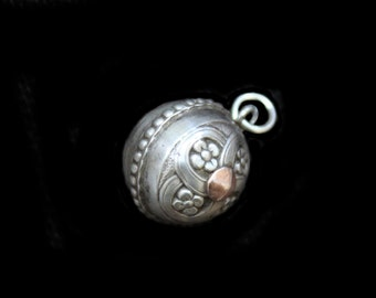 Antique Silver Orb Fob Charm w Lovely Engraved Flowers & Applied Rose Gold Center