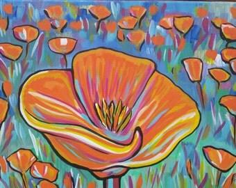 "California Poppy ~Original Acrylic painting on 12"" x 16"" canvas"