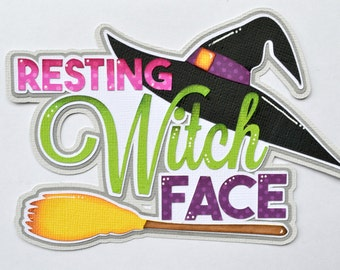 Paper Piecing Witch Face Halloween Premade Scrapbook Page Layout CraftECafe