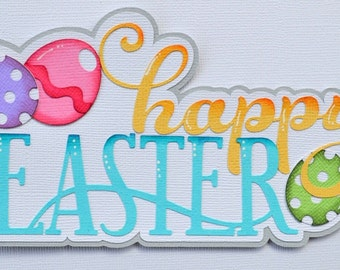 Elite4u Paper Piecing Easter Title for Premade Scrapbook Pages Layout