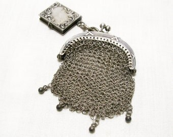 925 Silver French Chain Mail Purse with Miniature Photo Frame Fob, Vintage French Chatelaine Purse, Mesh Purse,  Chatelaine Purse,(4502)