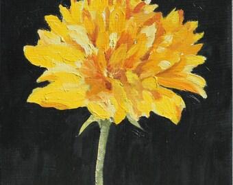 Still Life Painting Yellow Flower  Original Oil  on wood panel wall art 8x8 inch