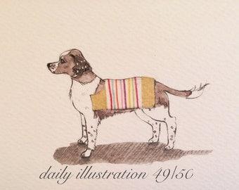 "Daily Illustration # 49/100 ""English Springer Spaniel"" Original Hand Drawn Art"