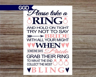 """INSTANT DOWNLOAD Bridal Shower Game - Ring Game, printable sign, Don't Say """"Bride, navy and blush bridal shower game-001"""