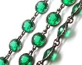 Rare Art Deco Emerald Crystal Sterling Silver Bezel Set Riviere Necklace