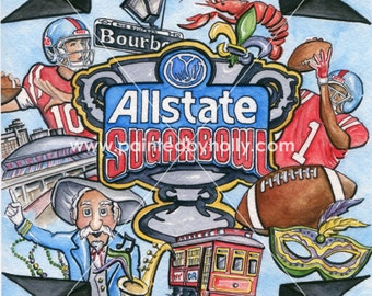 Ole Miss Rebels Football Sugar Bowl Art Print Artwork with Col. Colonel Reb