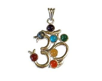 Chakra Om Pendant - Yoga symbol, Jeweled chakra, Ohm jewelry, Seven chakras, Om symbol, Silver om, Yogi