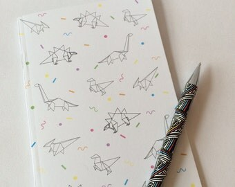Dinosaur Origami A6 Plain Notebook
