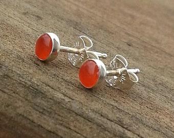4mm Orange Carnelian Gemstone Stud Post Earrings Fine Sterling Silver Shiny - Little Bits of Color