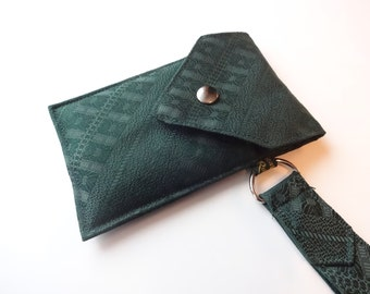 Recycled 3-Pocket Necktie Wristlet Wallet Forest Green
