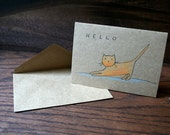 Stretching Feline // Hello // Hand Drawn Card // Cat