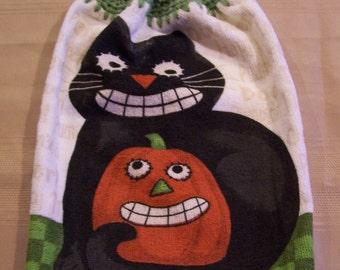 Halloween Hanging Dish Towel, Hanging Kitchen Towel, Halloween, Crochet Top Towel, Hanging Dish Towel, Housewarming Gift, Home Decor