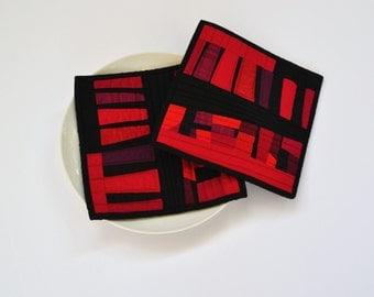 Red Pot Holders, Modern Potholders, Red & Black Table Decor, Set of 2, Red and Black Trivet