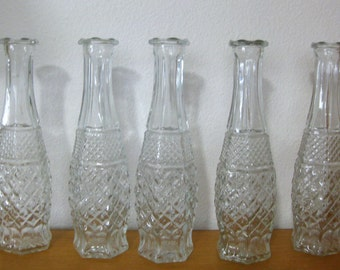 5 Vintage Pressed Clear Glass Hobnail & Diamond Cut Bud Vases-Wedding, Event