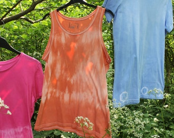 Custom Tie Dye Tank in Salmon Pink, Hand-Dyed 100% Cotton T Shirt, Boho Hippy Festival. Size L