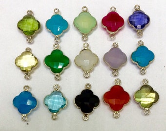 15 pieces lot of hot clover shape faceted gemstone sterling silver bezel connector link chekker cut stone findings jewelry making supplies