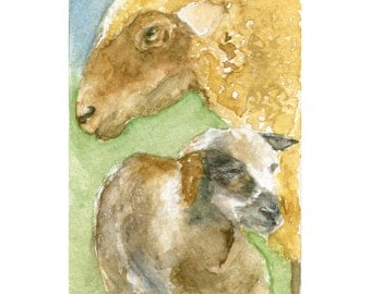 Ewe Watercolor, Lamb Ewe Print, Sheep Art, Sheep Print, Lamb Ewe Art, Farm Animal Art