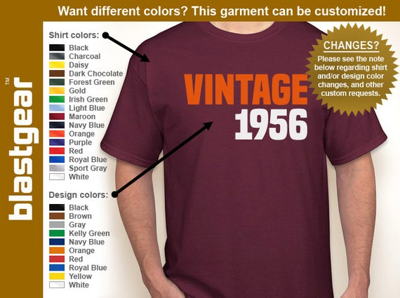VINTAGE 1956 (or any year) 60th Birthday T-shirt — Any color/Any size - Adult S, M, L, XL, 2XL, 3XL, 4XL, 5XL