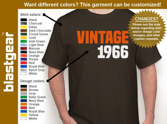 VINTAGE 1966 (or any year) 50th Birthday T-shirt — Any color/Any size - Adult S, M, L, XL, 2XL, 3XL, 4XL, 5XL