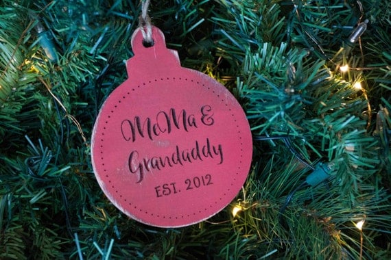 New Grandparents Christmas Ornament, Established year, est. 2016, grandparents first christmas, grandma, nana, grandpa ornament gift, wood