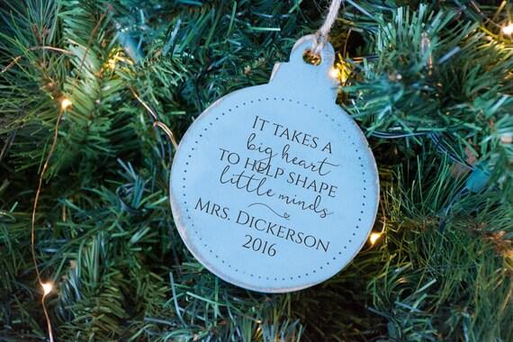 Teacher Ornament Gift, Big Heart to Teach Little Minds, End Year Gift, Teacher Christmas Gift, Custom Personalized Ornament